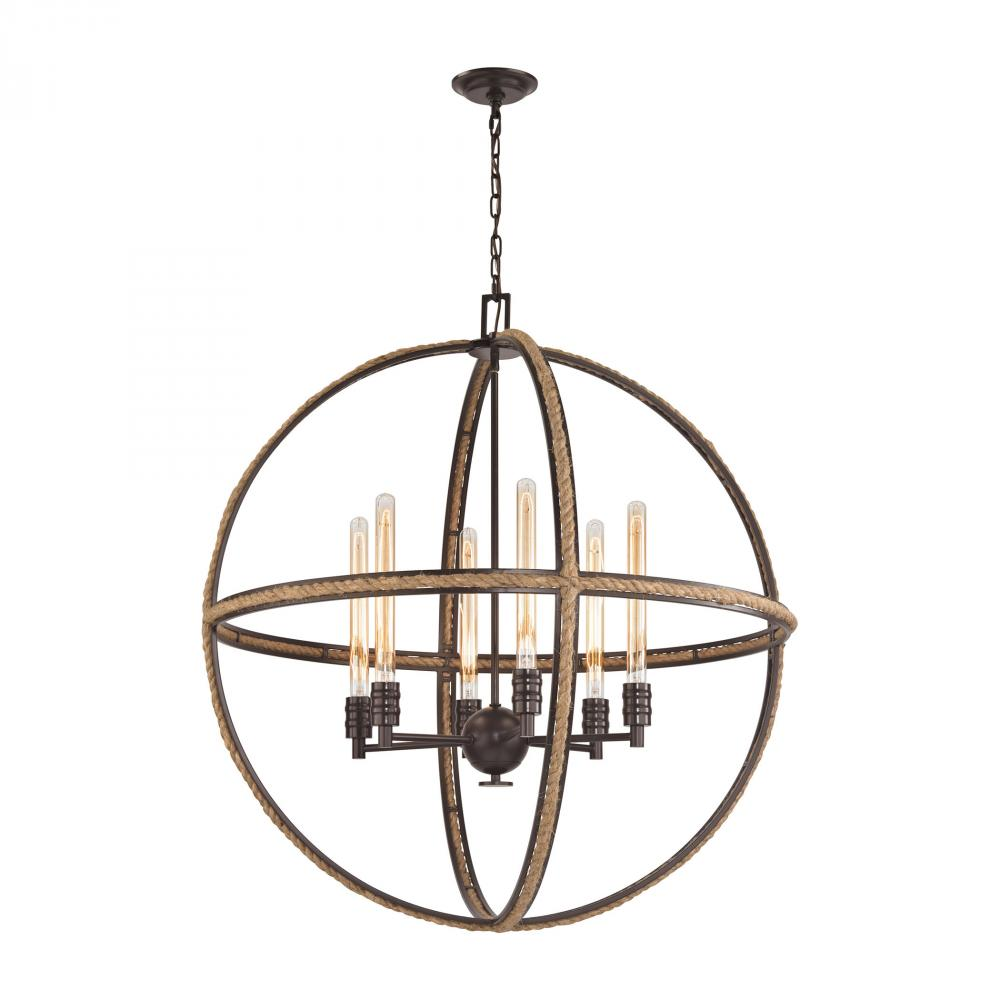 Natural Rope 6 Light Chandelier In Oil Rubbed Br